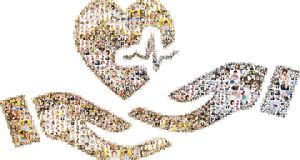 Collage of peope in shape of open hands and heart. Collage of images of people in shapes of hands with open palms, heart, and medical instrumentation bar Stock Images