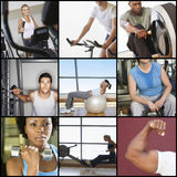 Collage of people exercising in gym Royalty Free Stock Photos