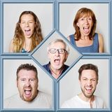 Collage of people during screaming. A collage of people during screaming Royalty Free Stock Photo