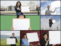 Collage of people showing placards Stock Image