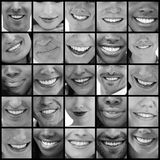 Collage of people smiling in black and white Stock Photos