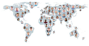Collage Of People On World Map Stock Image