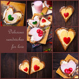 Collage pepper cheese sandwiches love wooden table heart Royalty Free Stock Image