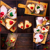 Collage pepper cheese sandwiches love wooden table heart valenti Royalty Free Stock Photography