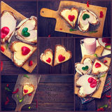 Collage pepper cheese sandwiches love wooden table heart valenti Stock Images