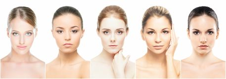 Collage of perfect faces. Various female portraits. Face lifting and skincare concept Royalty Free Stock Image