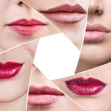 Collage of perfect female lips in diaphragm shape. Over white background Stock Images