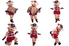Collage of person in pig mascot costume for dance Stock Photo