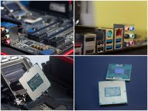 Collage of personal computer components. Royalty Free Stock Photos