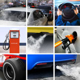 Collage of petroleum industry. And pollution from cars royalty free stock photography