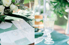 Collage photo of beautifully decorated wedding table and postcards in rustic style Stock Photo