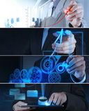 Collage of photo business strategy Royalty Free Stock Photography