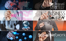 Collage of photo business strategy. As concept Stock Image