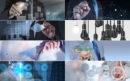 Collage of photo business strategy Stock Photos