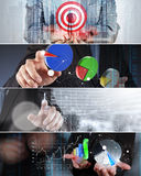 Collage of photo business strategy Royalty Free Stock Photo