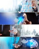 Collage of photo business strategy as concept Royalty Free Stock Photos