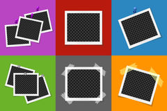 Collage of photo frames in colored squares Royalty Free Stock Images
