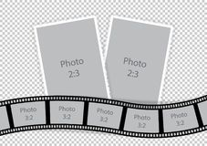 Collage of photo frames from film template ideas. Vector illustration royalty free illustration