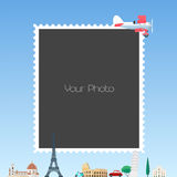 Collage of photo frames for traveling theme vector illustration Royalty Free Stock Photo