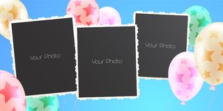 Collage of photo frames vector illustration. Design element of background with air balloons and templates for blank set of photo or pictures Royalty Free Stock Image