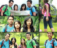 Collage photo of hiking people Stock Photo