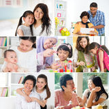 Collage photo of mothers and offsprings. Collage photo mothers day concept. Mixed race family generations having fun indoors living lifestyle. All photos belong Royalty Free Stock Image