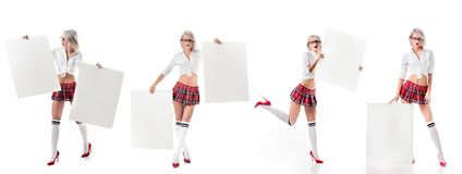 Free Collage Photo Of Sexy Blond Woman In Schoolgirl Uniform With Blank Banners Stock Image - 129084561