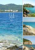 Collage photo sea in the summer royalty free stock image