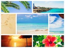 Collage photo sea travel. royalty free stock image