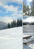 Collage photo winter in Slovenia, Europe. stock images
