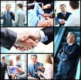 Collage of photo young people working together. In business Royalty Free Stock Image