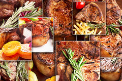 Collage from photoes of meat Stock Photo