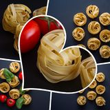 A collage of photographs of Italian pasta. Fettuccia noodles and vegetables. Photo Collage stock photography
