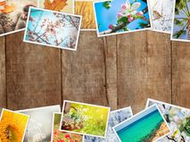 A collage of photographs is the seasons. Selective focus royalty free stock photos