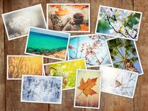 A collage of photographs is the seasons. Selective focus royalty free stock photography