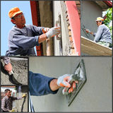 Construction Workers At Work - Collage Stock Images