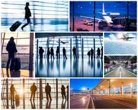 Collage of photos with airport in Beijing Stock Photography