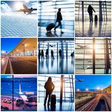 Collage of photos with airport in Beijing Stock Image