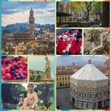 Collage of photos of attractions Florence Italy Stock Photos