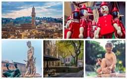 Collage of photos of attractions Florence Italy Royalty Free Stock Photos