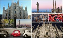 Collage of photos of attractions Milan Italy Stock Image