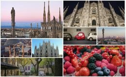 Collage of photos of attractions Milan Italy Stock Photos