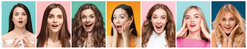 Collage of photos of attractive smiling happy women Royalty Free Stock Image