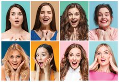 Collage of photos of attractive smiling happy women stock photo