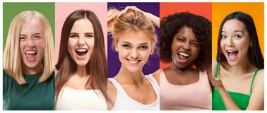 Collage of photos of attractive smiling happy women stock images
