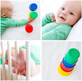 Collage Photos of Baby Child Playing and Discovery Stock Images