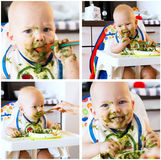 Collage photos of baby's first solid food. Adorable baby child eating with a spoon in high chair. Baby's first solid food royalty free stock images