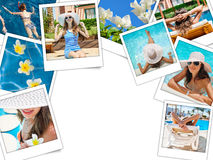 Collage of photos of the beautiful woman on vacation at sea Royalty Free Stock Image