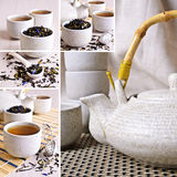 Collage of photos with black tea Stock Photography