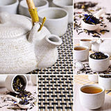 Collage of photos with black tea Royalty Free Stock Images